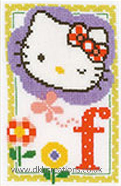 Hello Kitty Alphabet Letter F Cross Stitch Kit